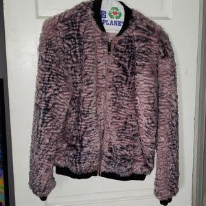 Guess faux fur jacket light pink/purple sz S
